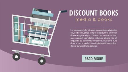 Books inside shopping cart. Discount books web banner.