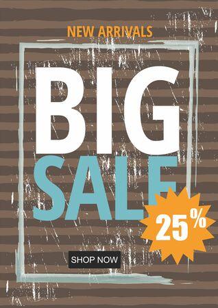 Flat design sale template banner. Illustration