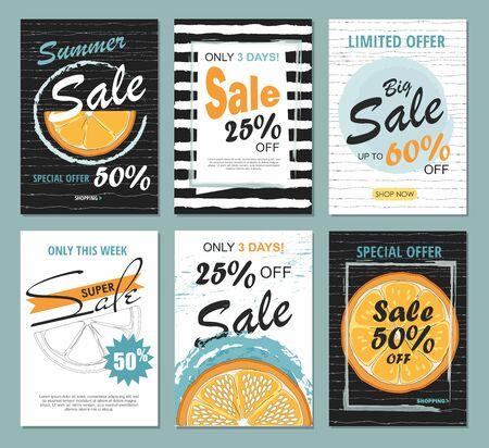 Set Summer sale templates with orange.