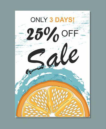 Summer sale template banner with orange. Illustration