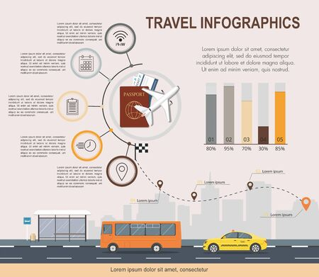 Travel infographic template. Transport service.