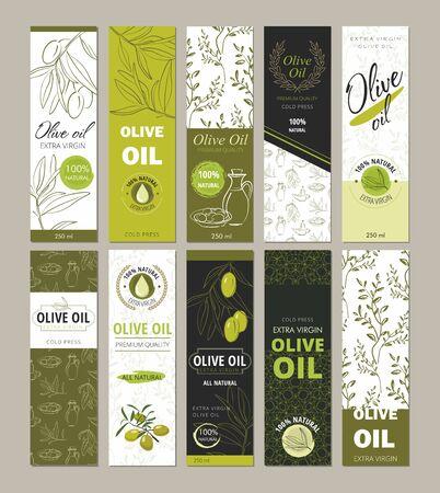Conjunto de envases de plantillas para botellas de aceite de oliva.
