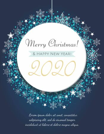 Christmas greeting card. Decorative blue ball with snowflakes and confetti. Ilustrace