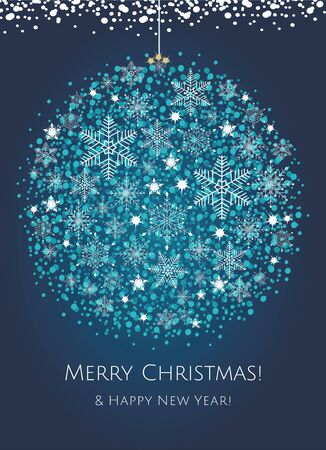 Merry Christmas greeting card with snow and abstract Christmas ball. Ilustrace