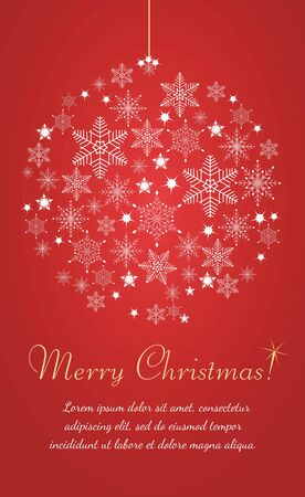 Merry Christmas greeting card with snowflake and abstract Christmas ball. Ilustrace