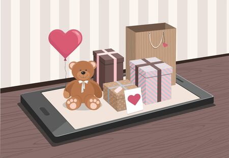 Valentines day. Teddy Bear and colorful gifts on phone. Ilustração