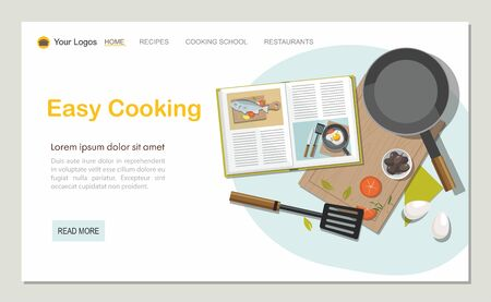 Cooking concept. Recipe book, frying pan and food. Web banner.Top view