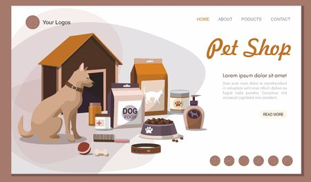 Landing page Pet shop. Pet accessories with dog . 向量圖像