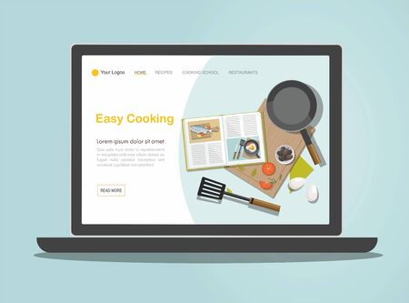 Landing page Cooking concept on laptop. Recipe book, frying pan and food. Stockfoto - 130101234