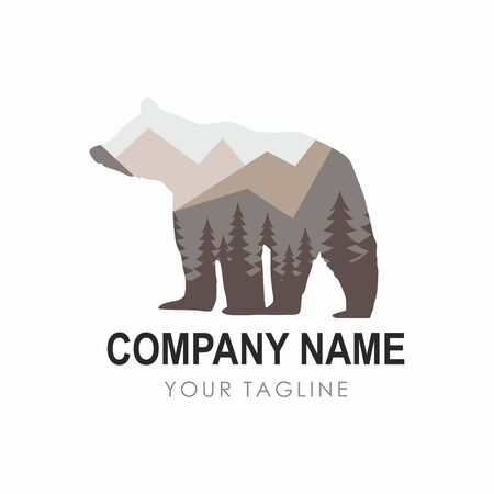 Bear Design Template consisting of forest background