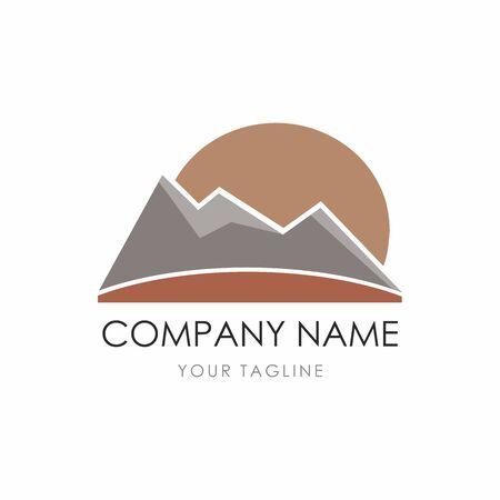 Mountain landscape, adventure logo design. Illustration