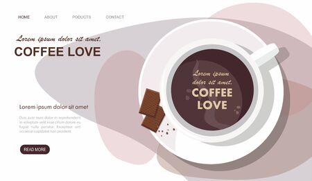 Landing page. Mug with coffee and chocolate. Top view Illustration 向量圖像