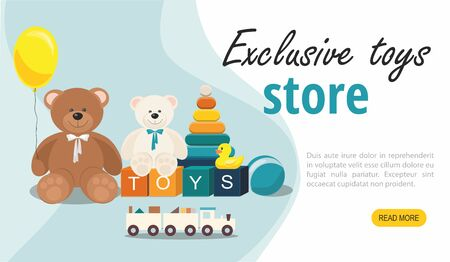 Website page template.  Teddy Bear and clorful toys, wooden toy train