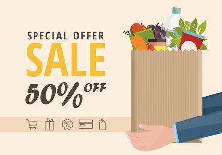 Banner de Web de venta. Hombre sosteniendo una bolsa de papel con comida.