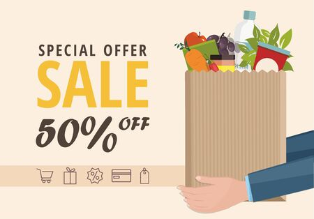 Sale Web banner. Man holding a paper bag with food.