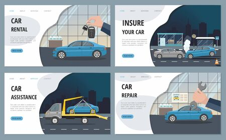 Automobile Services isolated on city background. Landing page template. Illusztráció