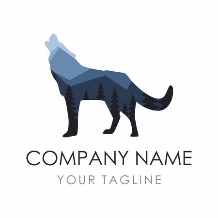 Wolf label Design Template consisting of forest background.