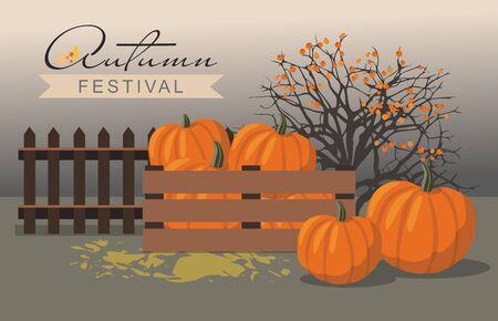 Autumn festival. Pumpkins next to the berry Bush. Illusztráció