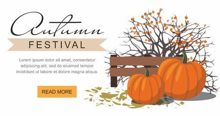 Autumn festival web banner. Pumpkins next to the berry Bush. Vector Illustration Çizim