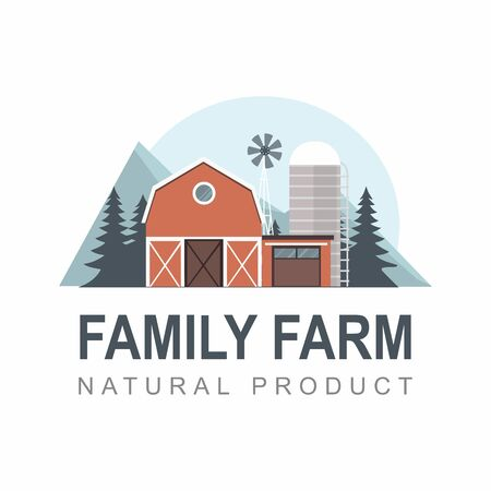 Family Farm label. Building with fir tree, mountains on white.