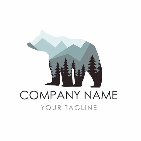 Bear  Label Template consisting of forest background.
