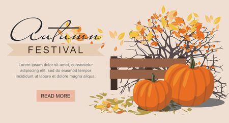 Autumn festival web banner. Pumpkins next to the berry Bush. Çizim