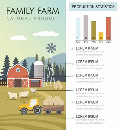 Agriculture And Farming Infographic. Countryside Landscape