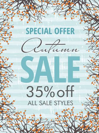Autumn sale banner template with branches and berries. Poster, card, label, web banner.