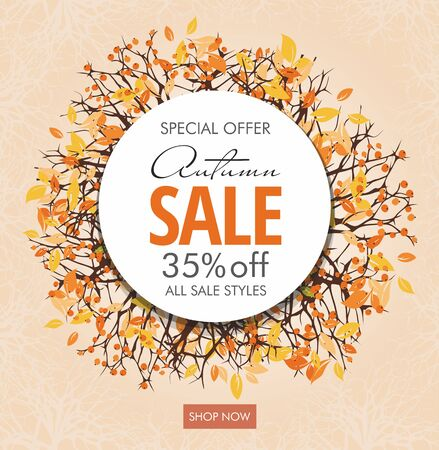 Autumn sale banner template with branches and berries. Circle frame.