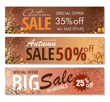 Set Autumn sale banners template with branches and berries. Ilustrace