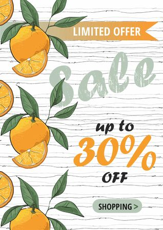 Sale flyer template with orange.