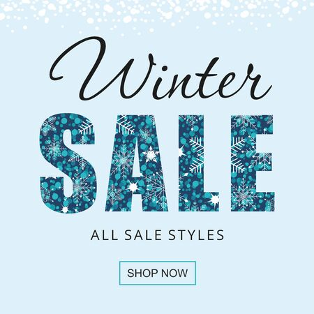 Winter sale banner with snowflakes isolated on blue background.