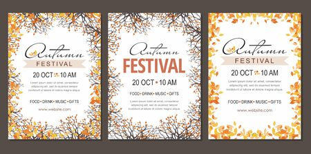 Set Autumn festival flyers, template with branches and berries. Çizim