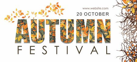 Autumn festival banner template with branches and berries. Poster, card,  web banner.