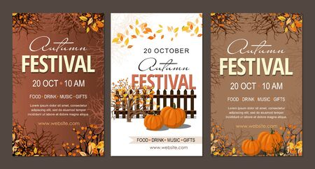 Set Autumn festival flyers, template with pumpkins  branches and berries. Vector Illustration Çizim