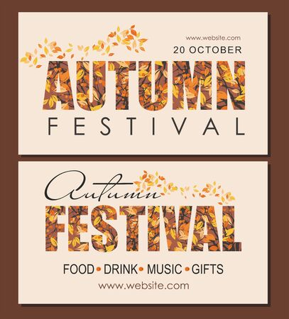 Set Autumn festival web banners template with branches and berries. Poster, card,  web banner.  Vector illustration.