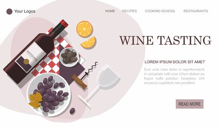 Wine tasting web page.  Wine bottle, olives and grapes composition on white background.