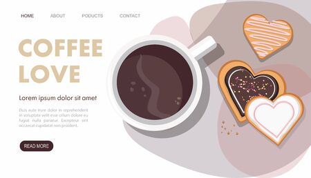 Mug with coffee and heart shaped cookies. Top view. Landing page. Vector Illustration