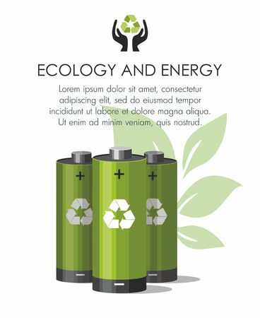 Green batteries Battery with recycle symbol - renewable energy concept on white. Vector Illustration