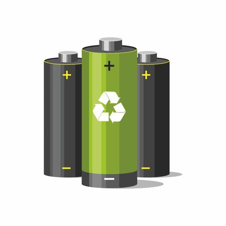 Battery recycling concept. Batteries with recycle symbol on white. Çizim