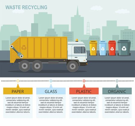 Garbage truck picking up recycle trash bin. Rubbish bins for recycling different types of waste on city background. Vector infographic