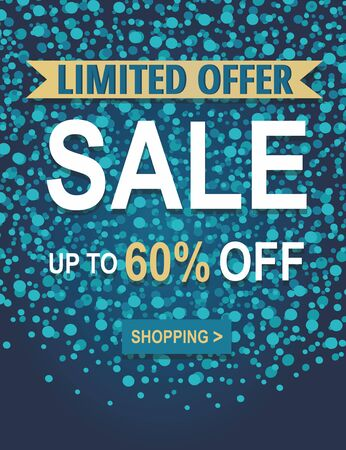 Winter sale banner with snowflakes isolated on blue background. Vector Illustration