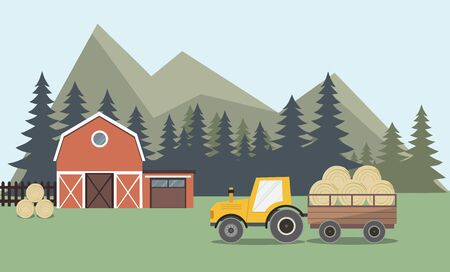 Agriculture And Farming, Farmland Countryside Landscape. Farm and tractor