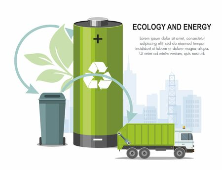 Battery and waste recycling concept on city background and garbage truck. Vector Illustration Çizim