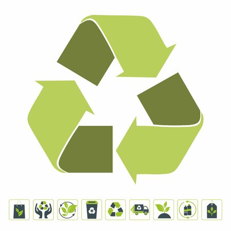 Set of recycling signs. Collection of green eco symbols. Vector illustration