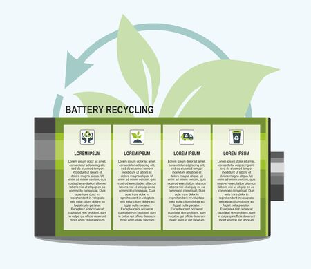 Battery and waste recycling concept. Vector Infographic template