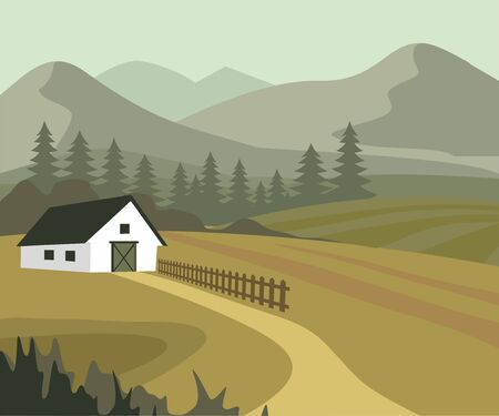 Agriculture And Farming, Farmland Countryside Landscape. Vector Illustration