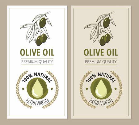 Olive labels and design elements. Packaging for olive oil bottles.  Vector Illustration