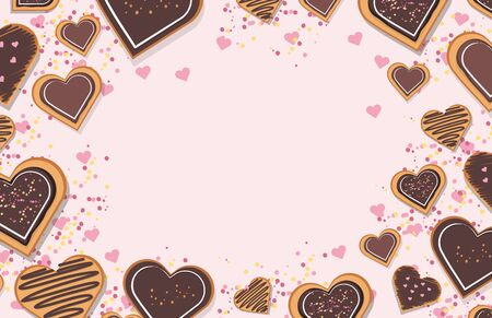 Decorated heart shaped cookies with glaze on pink  background, top view. Valentines day