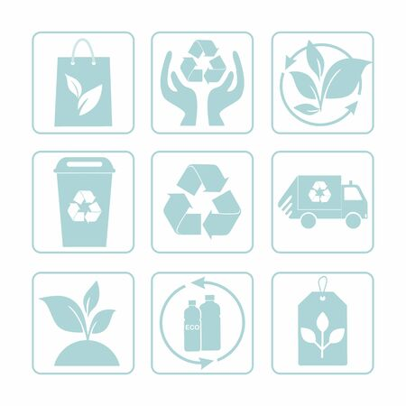 Set of recycling signs. Collection of blue eco symbols. Vector illustration